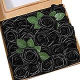 Ksnnrsng Mousse Rose Artificielles Fleurs Fausse Roses Faux Bouquet pour DIY fête Maison Mariage Décoration (25 pièces, Noir)