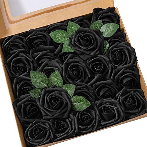 Künstliche Rosen Blumen Schaumrosen Foamrosen Kunstblumen Rosenköpfe Gefälschte Kunstrose Rose DIY Hochzeit Blumensträuße Braut Zuhause Dekoration (25 Stück, Schwarz)