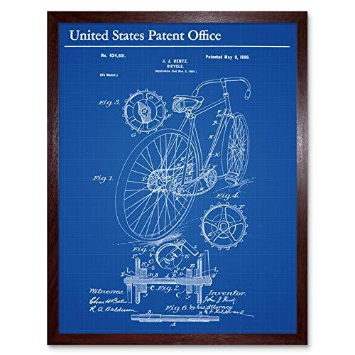 Hentz fiets fiets tandwielen Cogs 1899 patent plan muur kunst Print ingelijst 12x16