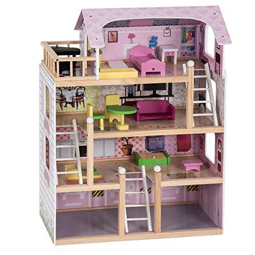 COSTWAY Casa delle Bambole in Legno, Giocattolo dei Bambini con Accessori, 81 x 60,5 x 29,5 cm