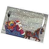 Uyikuvt Santa Claus Caballo Abierto Trineo Vintage Navidad Manteles Manteles Para Mesa De Comedor Lavables Antideslizante Alfombras De Café 18 X 12 Inc...