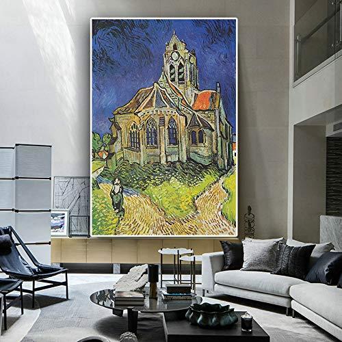 Geiqianjiumai Oude kerktoren Van Gogh olieverfschilderij canvas en poster Scandinavische prints