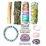 🌿 Includes two stunning white sage bundles wrapped in fiery wildflowers. Call upon these gorgeous custom wands to dispel negative energy or protect an altar or entrance-way. 💎 3 Beautiful crystal stones for balanced energy. Feel the love with rose qu...