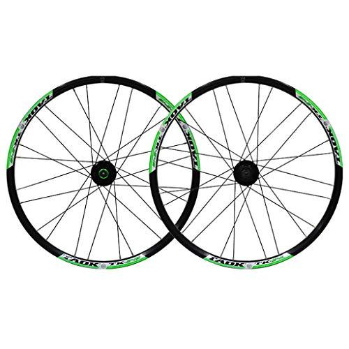 LSRRYD Ciclismo Ruedas Juego Ruedas Bicicleta 24' Rueda MTB Llanta Aleación Doble Pared Neumáticos 1.5-2.1' Freno Disco 7-11 Velocidad Palin Hub Liberación Rápida 24h (Color : Green-B)