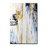 Cuadros Modernos Al Oleo,Estilo Creativo Azul Bosque Dorado Cascada Paisaje Textura Grandes Pinturas Al Óleo Arte Arte Abstracto Moderno Lienzo Pinturas De Arte De Pared Sala De Estar Dormitorio De