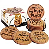 Coasterlux Cork Coasters for Drinks Absorbent with Holder - Cute & Funny Set of 8 Large Round Outdoor Cup Coasters for Wooden Table Protection, Coffee Trivet, Cups and Mugs - Cool Drink Coaster Gift