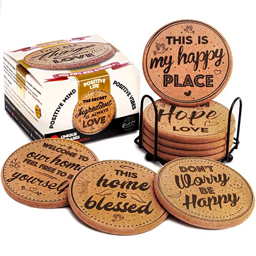 Coasterlux Cork Coasters for Drinks Absorbent with Holder - Cute & Funny Set of 8 Large Round...