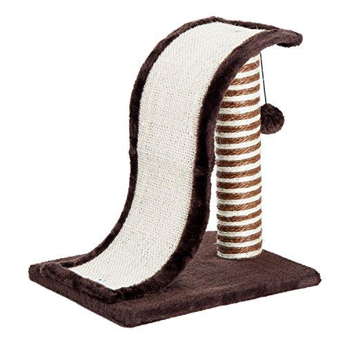 PawHut Árbol Rascador para Gatos Tipo Centro de Juegos con Poste de Sisal Natural y Pelota para Jugar y Arañar 35x30x39cm 2 Colores (Marrón y Crema)