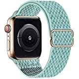 OHCBOOGIE Stretchy Solo Loop Strap Compatible with Apple Watch Bands 42mm 44mm 45mm ,Adjustable Stretch Braided Elastics Weave Nylon Women Men for iWatch Series7/6/5/4/3/2/1 SE,Marine Green
