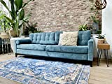 Rozenkelim Vintage Alfombra Shabby Chic Look Alfombra de pasillo para salón, dormitorio y pasillo, 70% polipropileno, 30% algodón (azul, 8 mm de alto), azul, 170cm x 117cm
