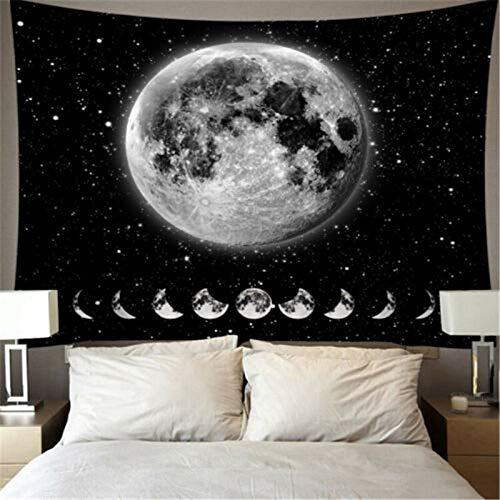 N / A Tapiz Creativo Colgante de Pared Luna Estrellas patrón Tapiz decoración del hogar Colgante de Pared león Luna impresión patrón Manta 130x150cm D54 130x150cm