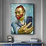 MKWDBBNM Famoso Pintor Funny Art Selfie by Phone Canvas Painting Retrato Abstracto de Carteles e Impresiones Cuadros de Pared para decoración del hogar | 50x70cm Sin Marco
