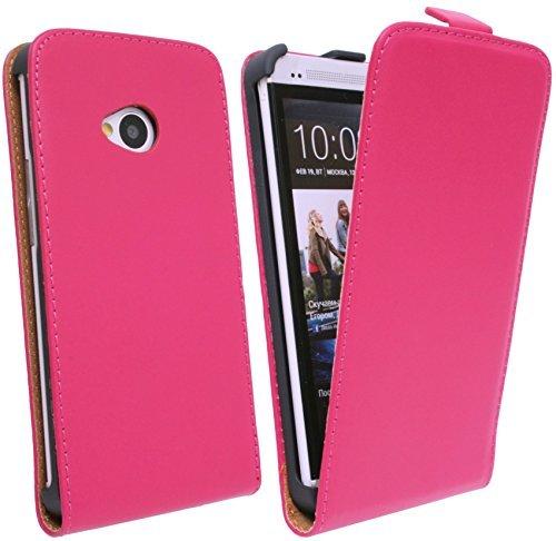 ENERGMiX Klapptasche Schutztasche für das Neue HTC ONE M7 in Pink Tasche Hülle