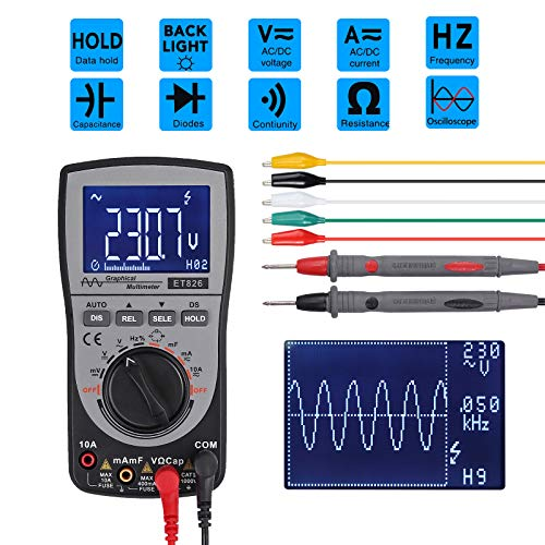 CAMWAY Oscilloscope Multimeter Intelligent Oscilloscope Automatic Waveform Multimeter 4000-Count Automatic Range Analog Bar Graph 200k High-Speed A/D Sampling 5 KHz ~ 500 KHz Frequency