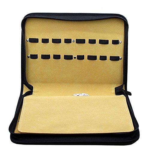 NACHEN Sac Professionnel de Ciseaux de Coiffure avec 16 Ciseaux Pochette Barber Scissors Bag Kit, Black