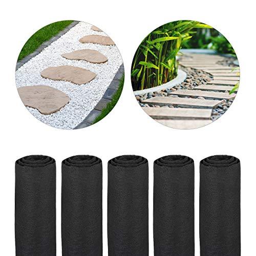 Relaxdays Pack 5 Rollos de Malla Antihierbas 17 g/m² Permeable y Resistente a los Rayos UV, Polipropileno, Negro, 75 m