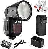 【Godox正規代理&技適マーク】Godox V1-C フラッシュストロボ 76Ws 2.4G TTLラウンドヘッドフラッシュスピードライト 1/8000 HSS 480フルパワーショット10レベルLEDモデリングランプ Canonカメラ対応