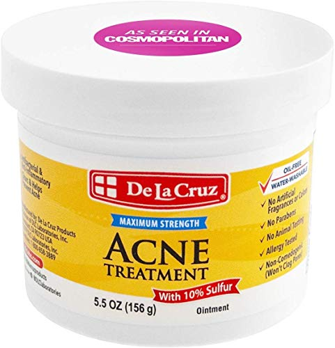 De La Cruz 10% Sulfur Ointment Acne Treatment - Medication to Clear Cystic Acne Pimples and Blackheads on Face and Body - Made in USA - Jumbo Size 5.5 oz