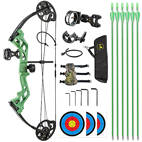 TOPOINT ARCHERY M3 Compound Bow Package for Beginners Junior&Kids Bow 17'-27' Draw Length,10-30Lbs Adjustable,260fps IBO,Axle to Axle 26',Bow Only 2.54lbs,Lightweight Design (Green-Basic Package)