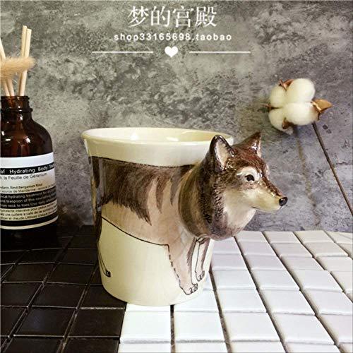 Handgeschilderde Animal Mok Wolf Keramische Beker Koffie Beker