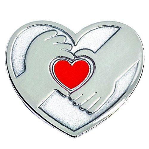 TCDesignerProducts Silver Hands/Red Heart Appreciation Award Pin, 12 Pins