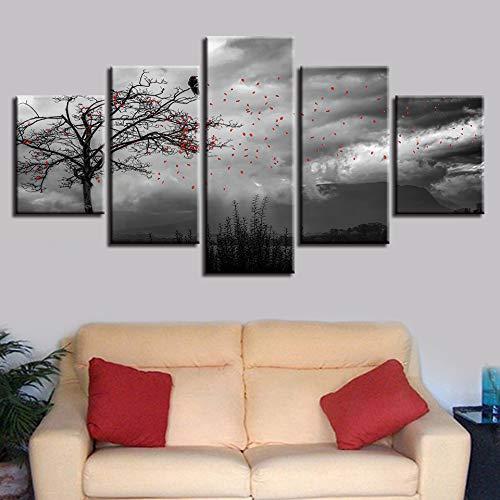 Afbeelding in zwart en wit - decoratieve muurkunst, 5 bloemen vliegen op de hemel en schilderij op canvas, modulair, vogellandschap L-30x40 30x60 30x80cm Frameloos.
