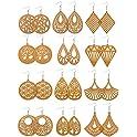 12 Pairs African Wooden Drop Earrings Bohemian Pendant Dangle Earrings