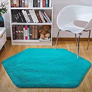 crib bedding and baby bedding junovo ultra soft rug for nursery children room baby room home decor dormitory hexagon carpet for playhouse princess tent kids play castle, diameter 4.6 ft, teal blue