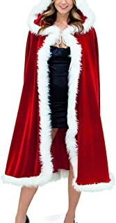 NA Christmas Costume Mrs Santa Claus Cloak Velvet Red Cape Hooded Fancy Dress Christmas Party 1.5m/4.9ft Capes
