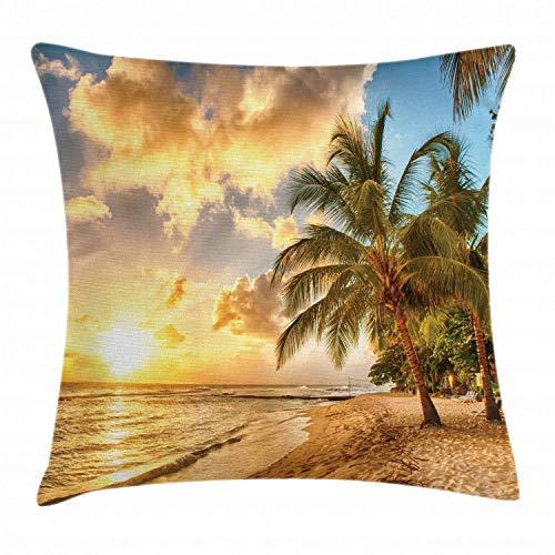 Funda de cojín de playa, diseño de playa de arena trópica con horizonte en la puesta del sol y palmeras de coco foto de verano, funda de almohada cuadrada decorativa, 45,7 x 45,7 cm, color azul crema