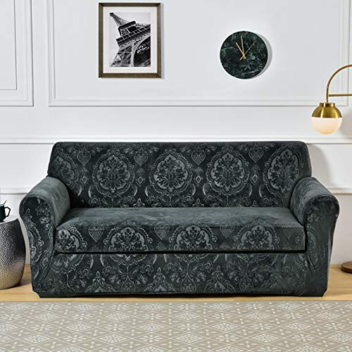Color Sólido Fundas Sofa,Stretch Plush Sofá Slipcover,Suave Grueso Protector De Saco De Muebles,Para 1 2 3 4 Seater Couch Cubiertas De Couch Para Sofás Reclinables Marrón-A 190-230cm(73-91inch)