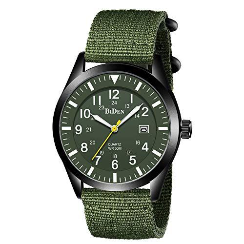 42MM Relojes para Hombre Relojes Militares Impermeables para Hombres (Negro Verde)