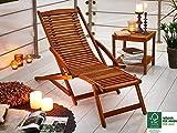 SAM Gartenliege Fuki Sonnenliege für Balkon & Garten, Deckchair klappbar, Akazien-Holz massiv, FSC 100% Zertifiziert