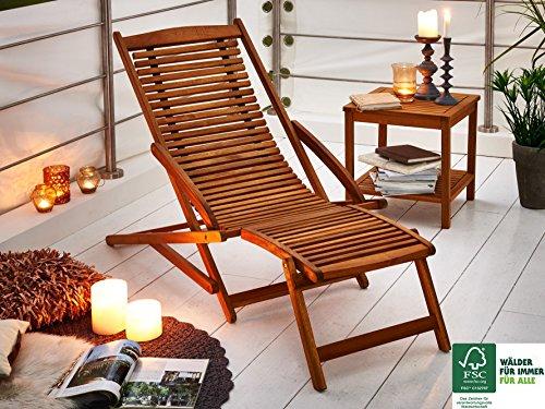 SAM Akazie Holz Deckchair Fuki, Sonnen- Liege-Stuhl, FSC® 100{c6de89513432b33e1e080780d49d4ce6298aff76847045b1e54be1491f5ca5c9}, geschliffen, klappbar, für Balkon, Terasse und Garten