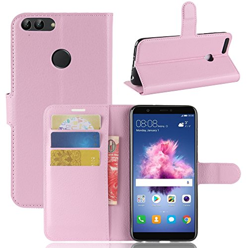 Per Huawei P Smart Custodie e cover,OFU® PU+TPU portafogli in pelle fondina Per Huawei P Smart Telefono Caso+staffa(Huawei P Smart,rosa)