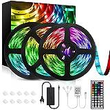Striscia LED 12M, Strisce LED RGB 5050 Luci con 360 Leds 12V 5A 20 Colori 6 Opzioni DIY 44 Pulsanti Telecomando RF Strip LED Multicolore per Esteri Camera da Letto Stanza Festa Balcone (3x4M)