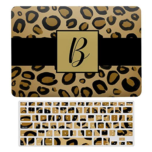For MacBook Air 13 Case A1466、A1369, Plastic Hard Shell & Keyboard Cover Compatible with MacBook Air 13, Painted Cheetah Leopard Print Spots Gold Beige Tan A44 Laptop Protective Shell Set