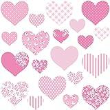 GET STICKING DECOR Corazón Pegatinas De Pared/ Calcomanías Colección, MultiPinkHearts Hart.4, Vinilo Removible Brillante, Multi Color. (Medium)