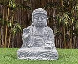 IDYL Granit-Stein Figur Buddha - Frostfest - Höhe 40 cm - grau - Asiatische Gartendekoration