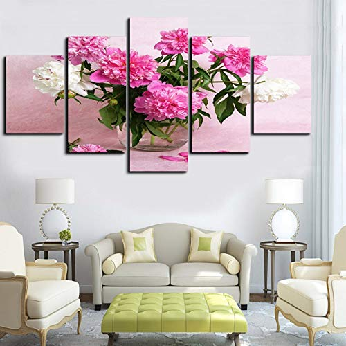 Baobaoshop Moderne malerei 5 stücke Pflege rosa weiße Rose leinwand Kunstdruck Poster Wand HD Bild Dekoration Wohnzimmer-Kein Rahmen