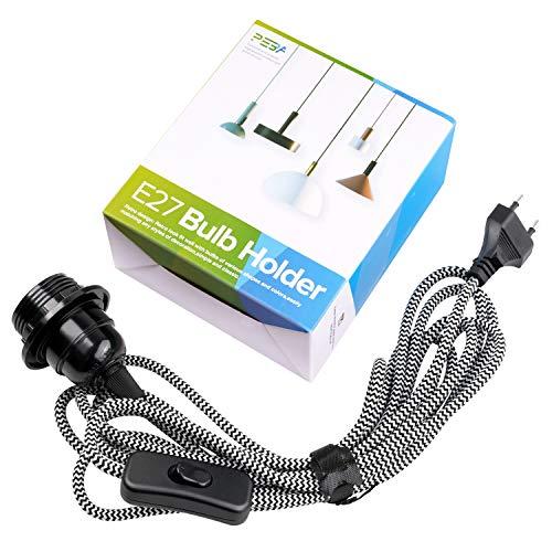 E27 Fassung mit Stecker und Schalter E27 Lampenfassung mit 3.5m Schwarz-Weiß-Textilkabel Netzkabel Lampensockel PEBA für Pendelleuchte Lampenaufhängung Kabel