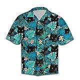 Black Cat Hawaiian Shirts for Men - Black Cat Tropical Button Down Mens Hawaiian...