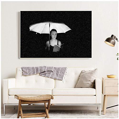 A&D Frau Mit Einem Regenschirm Graustufen Foto Wandkunst Malerei Leinwand Malerei Wandbilder für Wohnzimmer Dekor-50x75 cm Kein Rahmen