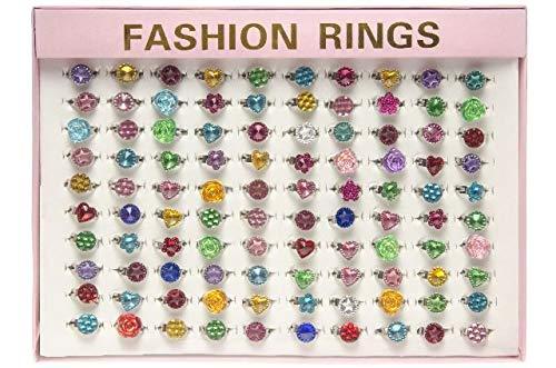 Schnooridoo 100 anillos infantiles con piedras brillantes en expositor, regalo para cumpleaños infantiles, diseño de tombola