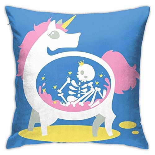 IUBBKI Kissenbezug auf dem Bett im Wohnzimmer The Truth About Unicorns Blue Pillow Case Square Soft Pillowcase Throw Pillow Cover Home Decor for Living Room Sofa Car Cushion Cover 18'X 18'
