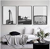 Schwarz Weiß Wandkunst Poster Druck Musik Gitarre Vinyl