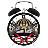 Digital Alarm Clock Japanese Twin Size Classic Japanese Kabuto Mask Silver Custom Medieval Period Icon Print Vermilion Suitable for Office Bedroom Study