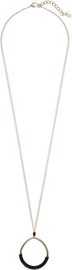 Teardrop Leather Pendant Long Necklace