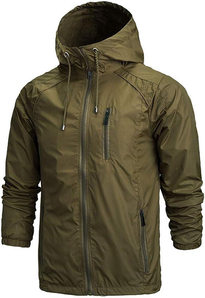 MODOQO Men's Waterproof Zipper Hoodies Long Casual Lightweight Sweatshirt Outwear