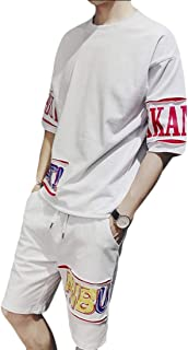 Men's Casual 2 Piece Outfits Short Sleeve Crewneck Shirt Shorts Summer Tracksuit Set